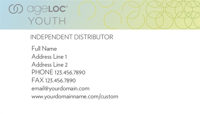 ageLoc Youth Horizontal Business Cards Version 1